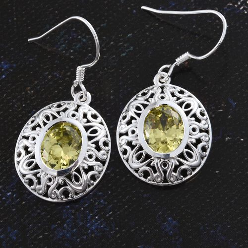 ELANZA AAA Simulated Canary Diamond (Ovl) Hook Earrings in Sterling Silver