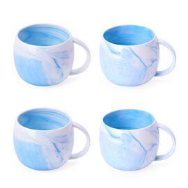 Set of 4 - Light Blue and White Colour Marble Pattern Ceramic Mug (Size 10X9 Cm)