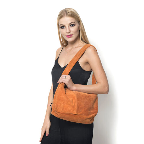 Genuine Leather Orange Colour Handbag with Thick Braided Shoulder Strap (Size 42x27 Cm)