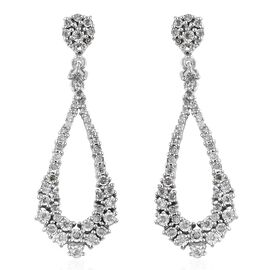 GP Diamond (Rnd), Kanchanaburi Blue Sapphire Earrings (with Push Back) in Platinum Overlay Sterling Silver 0.520 Ct