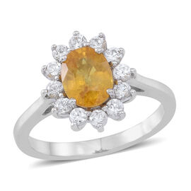 Yellow Sapphire (Ovl 1.75 Ct), Natural White Cambodian Zircon Ring in Rhodium Plated Sterling Silver 2.500 Ct.