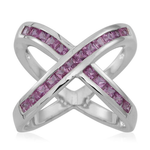 Pink Sapphire (Sqr) Criss Cross Ring in Rhodium Plated Sterling Silver 1.500 Ct.