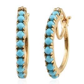 Arizona Sleeping Beauty Turquoise (Rnd) Hoop Earrings in 14K Gold Overlay Sterling Silver 1.500 Ct.
