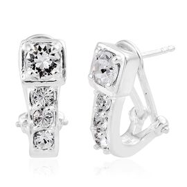 J Francis Crystal from Swarovski - White Crystal (Rnd) Earrings (with French Clip) in Sterling Silver