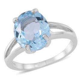 Sky Blue Topaz (Ovl) Solitaire Ring in Rhodium Plated Sterling Silver 5.000 Ct.