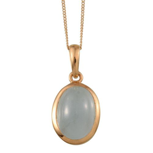 Espirito Santo Aquamarine (Ovl) Solitaire Pendant With Chain in 14K Gold Overlay Sterling Silver 6.000 Ct.