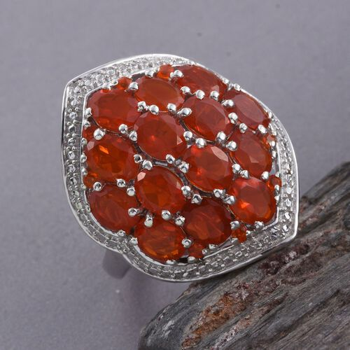 Jalisco Fire Opal (Ovl) Ring in Platinum Overlay Sterling Silver 3.750 Ct.
