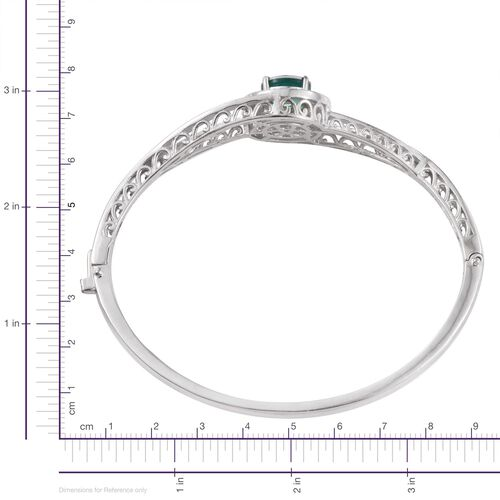Peacock Quartz (Rnd) Bangle (Size 7.5) in ION Plated Platinum Bond 3.750 Ct.