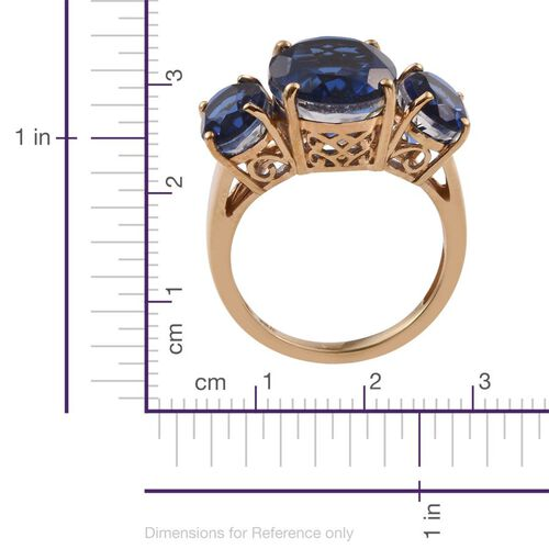 Ceylon Colour Quartz (Ovl 5.25 Ct) 3 Stone Ring in 14K Gold Overlay Sterling Silver 8.250 Ct.