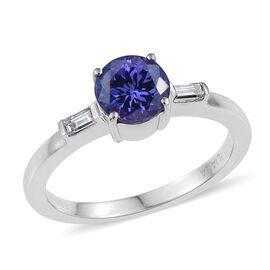 ILIANA 18K White Gold AAA Tanzanite (Rnd 1.15 Ct), Diamond (SI/G-H) Ring 1.250 Ct.