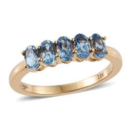 ILIANA 18K Yellow Gold AAA Santa Maria Aquamarine (Ovl) 5 Stone Ring 1.150 Ct.