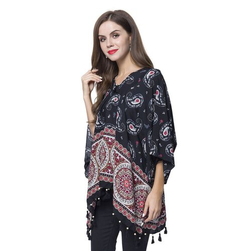 Black, Cherry and Multi Colour Bandana Pattern Poncho with Wooden Beads Adorned Tassels (Size 130X95 Cm)
