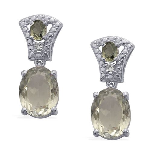 Green Sillimanite (Ovl), Green Sapphire and White Topaz Earrings in Platinum Overlay Sterling Silver 3.850 Ct.