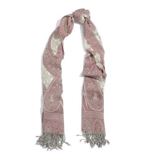 100% Merino Wool Paisley Pattern Cream and Pink Colour Shawl (Size 180x65 Cm)