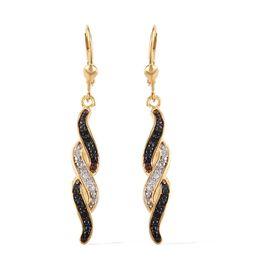 Black Diamond (Rnd), White Diamond Lever Back Earrings in 14K Gold Overlay Sterling Silver 0.100 Ct.