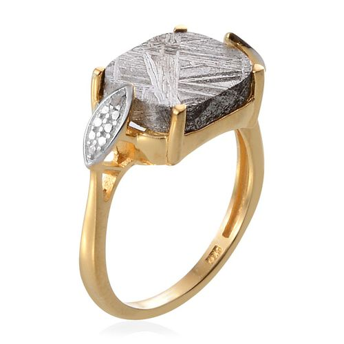 Meteorite (Cush 10.50 Ct), Diamond Ring in 14K Gold Overlay Sterling Silver 10.510 Ct.