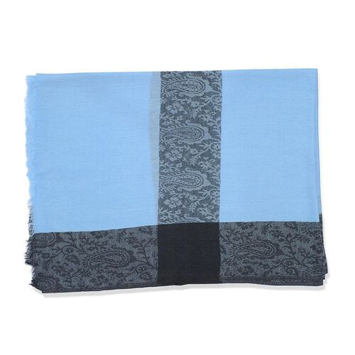 Limited Available - 100% Wool Self Border Blue Scarf (Size 70x200 Cm)