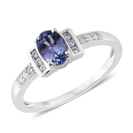 9K White Gold 0.87 Ct AA Tanzanite Ring with Natural Cambodian Zircon
