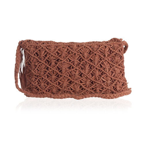 Chocolate Full Fringes Crossbody Bag (Size 22x14 Cm)