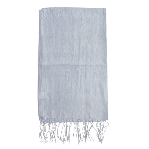 100% Silk Metalic Blue Colour Scarf (Size 180x50 Cm) with Hand Made Tussel