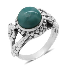 Royal Bali Collection Larimar (Rnd) Solitaire Ring in Sterling Silver 5.010 Ct. Silver wt. 6.65 Gms.