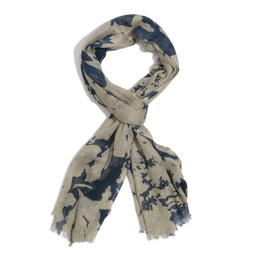 50% Cotton and 50% Wool Dark Blue and Light Brown Colour Printed Scarf (Size 175x75 Cm)