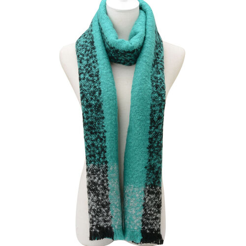Black, White and Turquoise Colour Scarf (Size 190x55 Cm)
