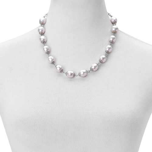 White Shell Pearl Necklace (Size 17 with 3 inch Extender) in Silver Tone