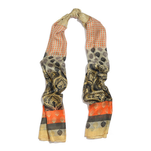 100% Mulberry Silk Orange, Black, Beige and Multi Colour Arabesque Pattern Golden Colour Scarf (180x100 Cm)