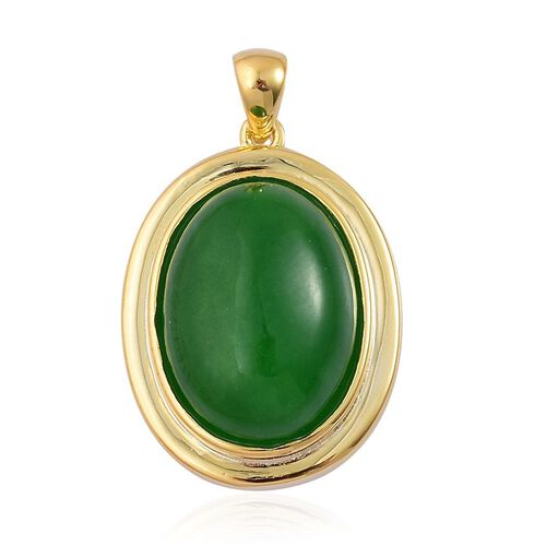 Green Jade (Ovl) Pendant in Yellow Gold Overlay Sterling Silver 11.000 Ct.