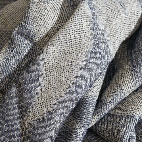 Blended Silver Filigree Floral Jacquard Weave Scarf (Size 200x70 Cm)