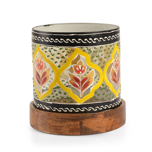 Yellow, Grey and Multi Colour Floral and Leaves Hand Painted Candle Stand with Wooden Base (Size 12.5X11.5 Cm)