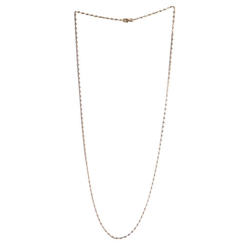 14K Gold Overlay Sterling Silver Diamond Cut Rolo Chain (Size 30), Silver wt 4.00 Gms.