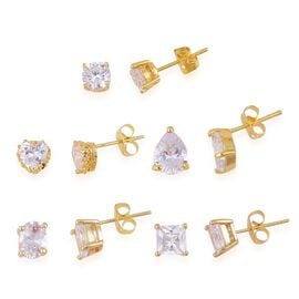 Super Bargain Auction - Set of 5 - AAA Simulated White Diamond (Rnd, Hrt, Ovl, Sqr and Pear) Stud Earrings (with Push Back) Yellow Gold Plated