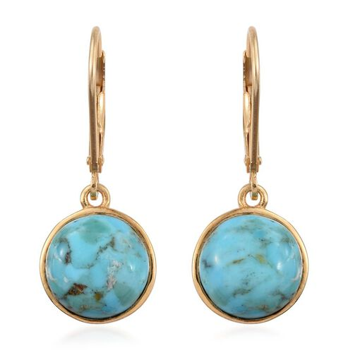 Arizona Matrix Turquoise (Rnd) Lever Back Earrings in 14K Gold Overlay Sterling Silver 6.000 Ct.