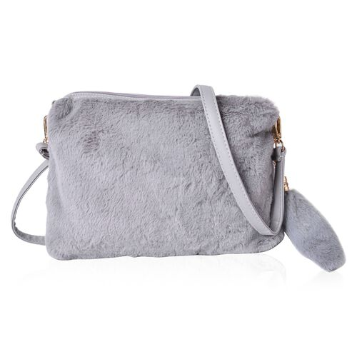Grey Colour Faux Fur Sling Bag with Removable Shoulder Strap and Tassels (Size 28X22.5 Cm)