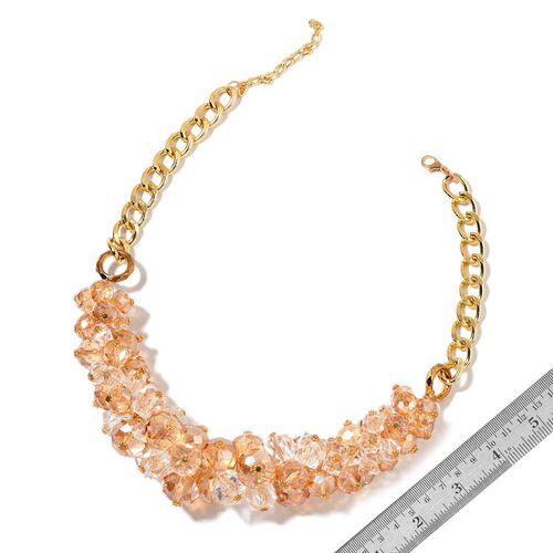 Simulated Champagne and White Diamond Necklace (Size 20 with 5 inch Extender) in Yellow Gold Tone