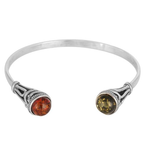 Baltic Amber Bangle in Sterling Silver (Size 7) 5.000 Ct.