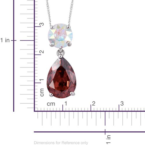 J Francis Crystal from Swarovski - Padparadscha Colour Crystal (Pear), AB Colour Crystal Pendant With Chain in Platinum Overlay Sterling Silver. Silver wt. 3.00 Gms.