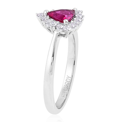 RHAPSODY 950 Platinum 1 Carat AAAA Ouro Fino Rubelite Halo Ring with Diamond VVS-VS/E-F