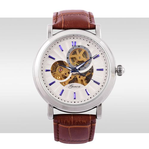 GENOA Automatic Skeleton White Dial Watch in Silver Tone with Stainless Steel and Glass Back