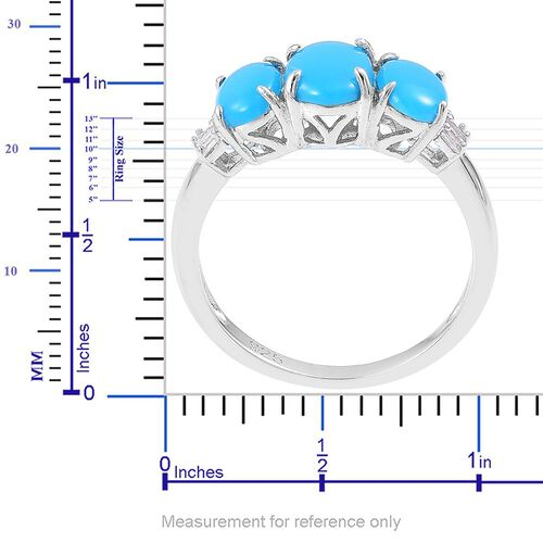 Arizona Sleeping Beauty Turquoise (Ovl 0.90 Ct), Diamond Ring in Platinum Overlay Sterling Silver 1.950 Ct.