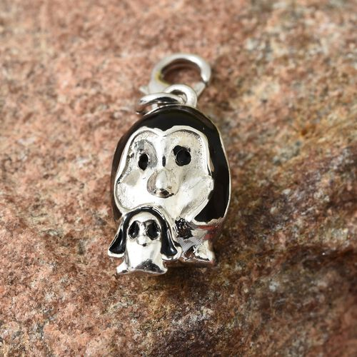 Penguin Mother and Child Charm in Platinum Plated Silver Black Enameled