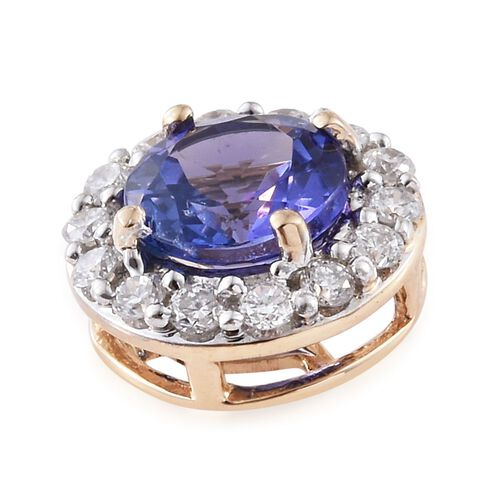 New York Collection - 14K Y Gold AAA Tanzanite (Rnd 0.90 Ct), Diamond (I3/G-H) Pendant 1.100 Ct.