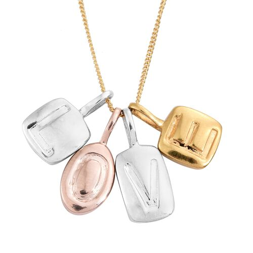 Love Pendant With Chain in Platinum, Gold and Rose Plated Silver