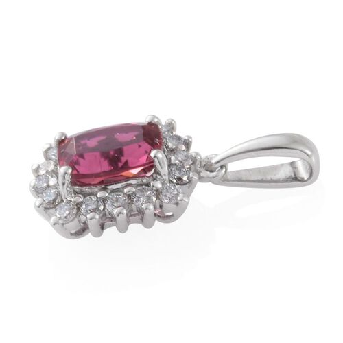 RHAPSODY 950 Platinum 1.15 Ct. AAAA Rubelite Halo Pendant with Diamond VS/E-F