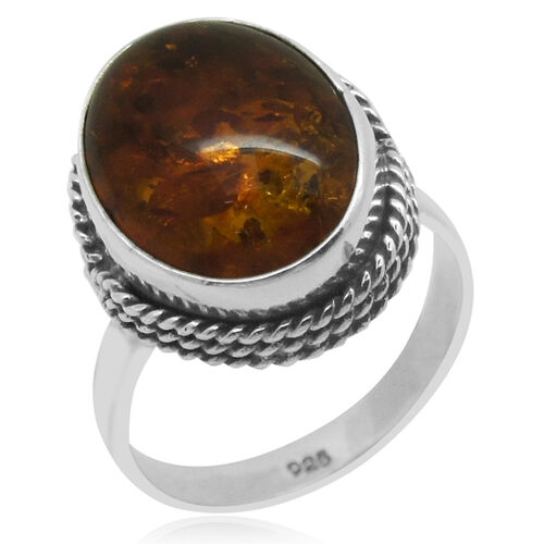 Royal Bali Collection Baltic Amber (Ovl) Solitaire Ring in Sterling Silver 3.450 Ct.