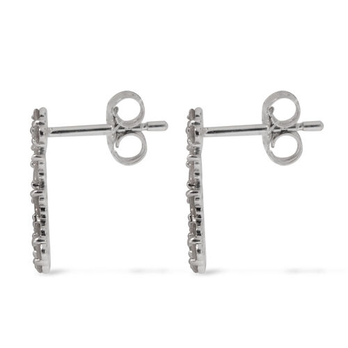 9K W Gold SGL Certified Diamond (Rnd) (I3 / G-H) Earrings (with Push Back) 0.500 Ct.