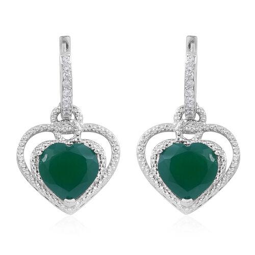 Verde Onyx (Hrt), Natural White Cambodian Zircon Earrings (with Clasp) in Rhodium Plated Sterling Silver 9.750 Ct.