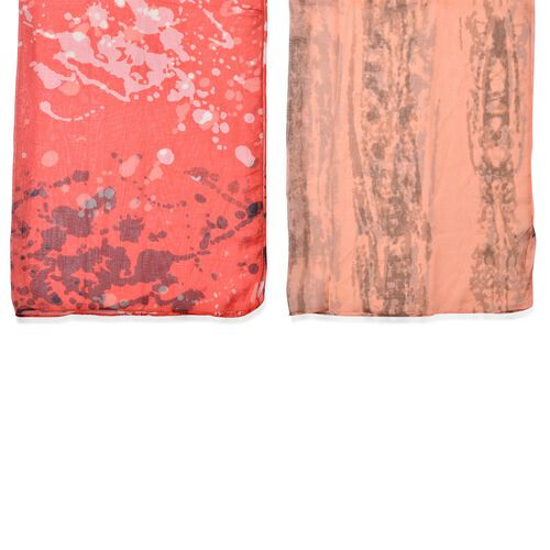 Set of 2 - Designer Inspired Orange and Chocolate Colour Scarf (Size 175x70 Cm)